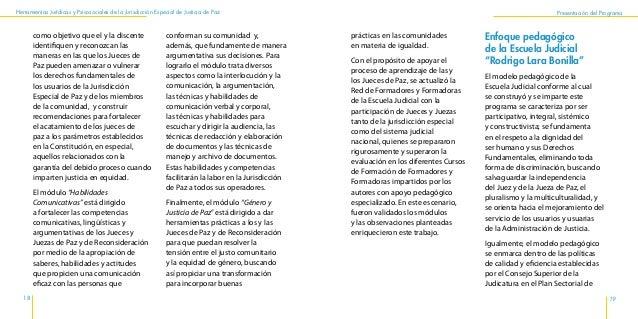 Herramientas Jurídicas y Psicosociales de la Jurisdicción Especial de Justicia de Paz 22 23 Presentación del Programa y, c...