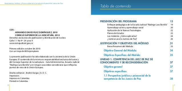 Herramientas Jurídicas y Psicosociales de la Jurisdicción Especial de Justicia de Paz 10 11 Tabla de contenido Análisis pa...