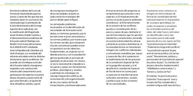Herramientas Jurídicas y Psicosociales de la Jurisdicción Especial de Justicia de Paz 18 19 Presentación del Programa conf...