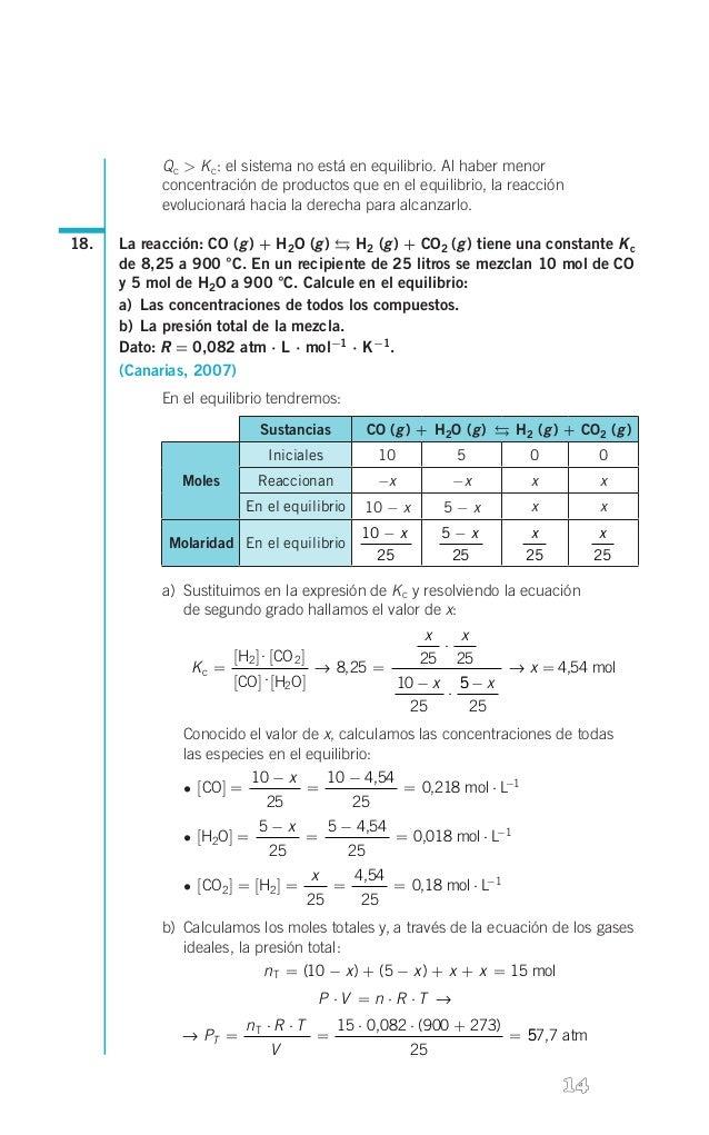 ,  Q c > K c: el sistema no está en equilibrio. Al haber menor concentración de productos que en el equilibrio, la reacció...