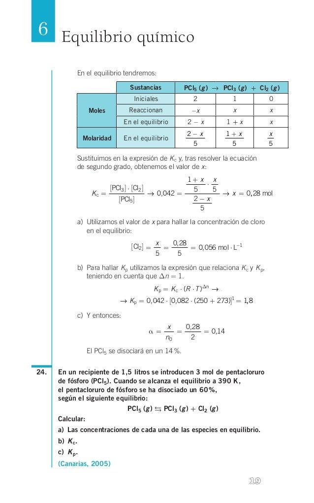 6 Equilibrio químico En el equilibrio tendremos: Sustancias    g g g PCl5( ) → PCl3( ) + Cl2( )  Iniciales  ...