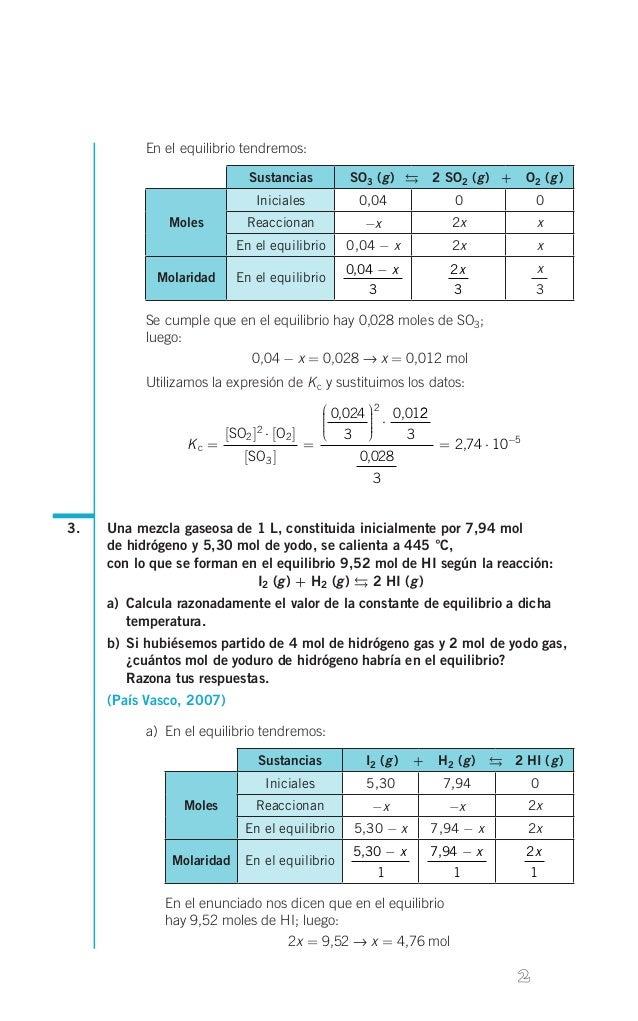 En el equilibrio tendremos: Sustancias  g g g  SO3( )  2 SO2( ) + O2 ( )  Iniciales Moles  0,04  0  0  Reacc...