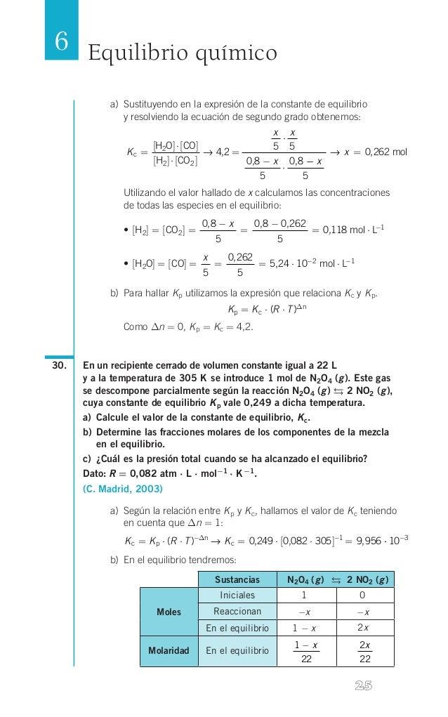 6 Equilibrio químico a) Sustituyendo en la expresión de la constante de equilibrio  y resolviendo la ecuación de segundo...