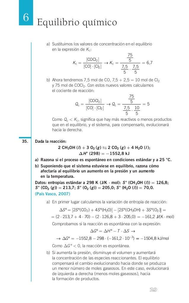 6 Equilibrio químico a) Sustituimos los valores de concentración en el equilibrio  en la expresión de K c: 75 [COCl2 ] 5...