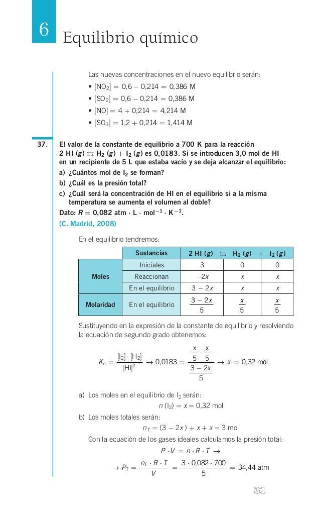 6 Equilibrio químico Las nuevas concentraciones en el nuevo equilibrio serán: • [NO 2 ] = 0,6 - 0,214 = 0, 386 M • [SO 2...