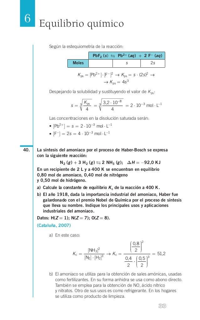 6 Equilibrio químico Según la estequiometría de la reacción:  4   PbF2 (s)  Pb2+ (aq) + 2 F- (aq) Moles  s  2s  K...