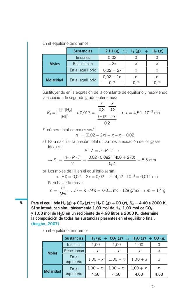 En el equilibrio tendremos: Sustancias  g g 2 HI( )  I2( ) + H2( ) g    Iniciales  0,02  0  0  Molaridad  R...