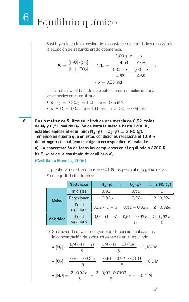 6 Equilibrio químico Sustituyendo en la expresión de la constante de equilibrio y resolviendo la ecuación de segundo grado...