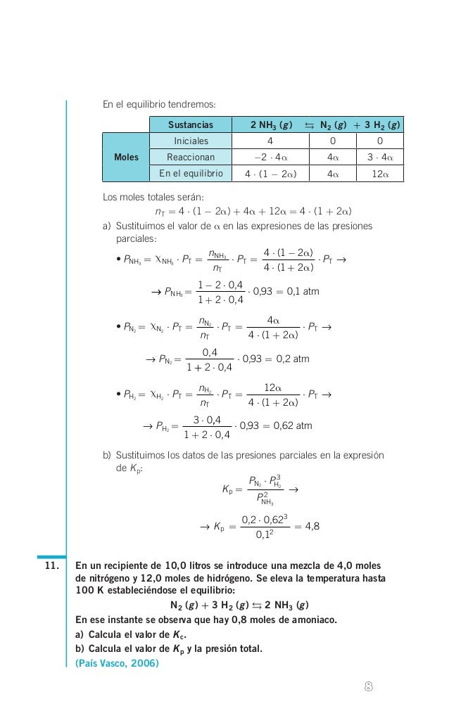 En el equilibrio tendremos: Sustancias    g g g 2 NH3( )  N2( ) + 3 H2( )  Iniciales  0  0  Reaccionan  -2 ...