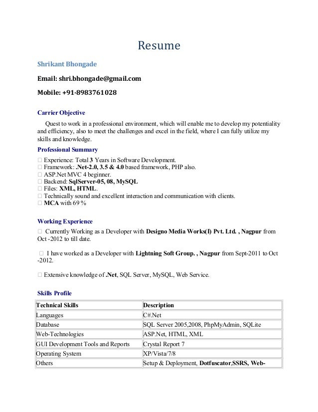 shrikant bhongade dot net resume