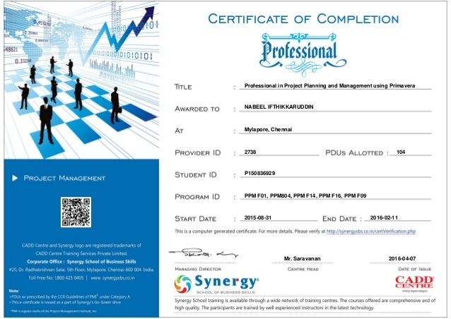 Primavera_PMP Course certification