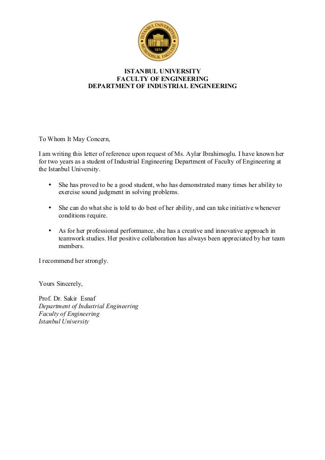 Reference letter aylar ibrahimoglu istanbul university faculty of engineering department of industrial engineering to whom it may concern i spiritdancerdesigns Choice Image
