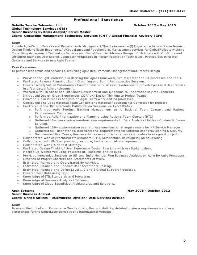 sample senior business analyst resume