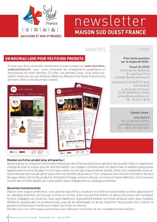 Maisons Sud Ouest France - Newsletter n°6 - Janvier 20151 Pour toute question sur le dispositif MSO : Magali BLADIER Coord...
