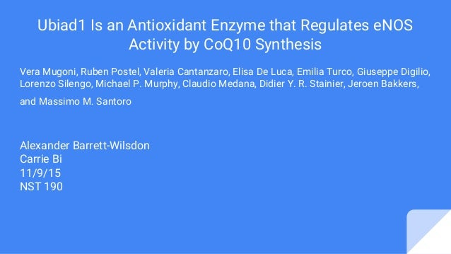 Ubiad1 Is an Antioxidant Enzyme that Regulates eNOS Activity by CoQ10 Synthesis Vera Mugoni, Ruben Postel, Valeria Cantanz...