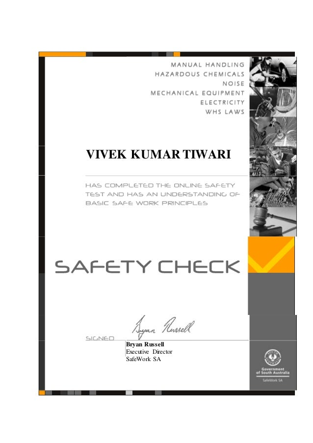 Safety Check Certificate