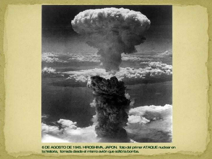 6 DE AGOSTO DE 1945. HIROSHIMA, JAPON.  foto del primer ATAQUE nuclear en la historia,  tomada desde el mismo avión que so...
