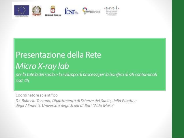 Presentazione della Rete Micro X-ray lab perlatuteladelsuoloelosviluppodiprocessiperlabonificadisiticontaminati cod.45 Coo...