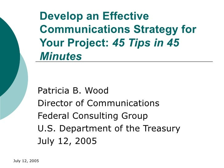 Develop an Effective Communications Strategy for Your Project:  45 Tips in 45 Minutes Patricia B. Wood Director of Communi...