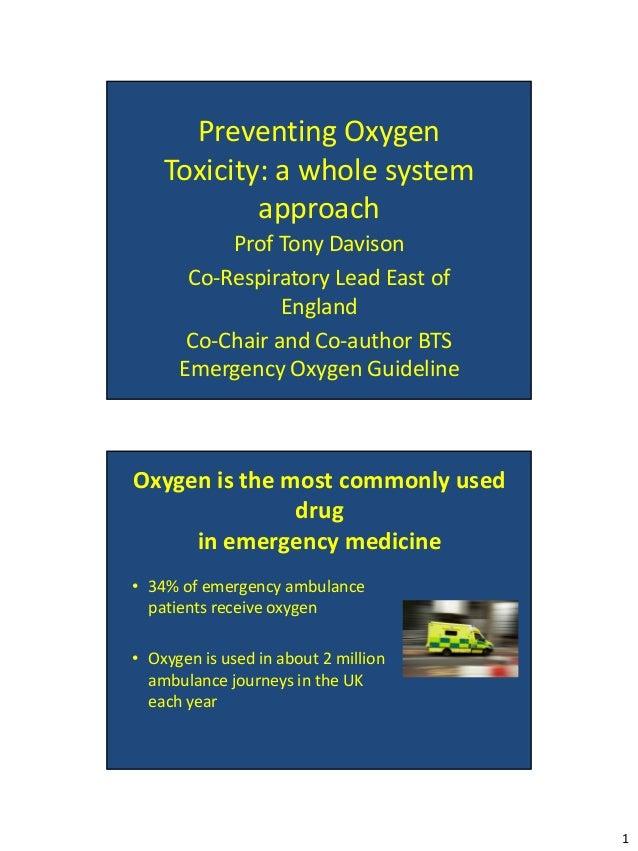 Preventing Oxygen    Toxicity: a whole system            approach           Prof Tony Davison       Co-Respiratory Lead Ea...