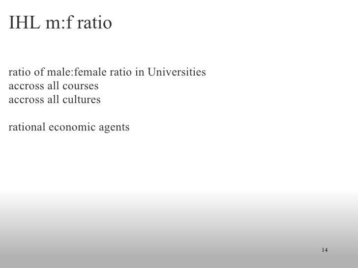 IHL m:f ratio  <ul><li>ratio of male:female ratio in Universities </li></ul><ul><li>accross all courses </li></ul><ul><li>...