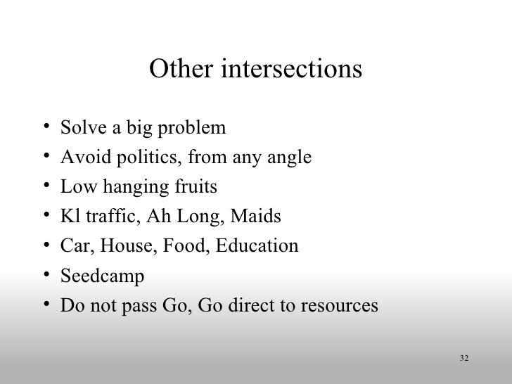 Other intersections <ul><li>Solve a big problem </li></ul><ul><li>Avoid politics, from any angle </li></ul><ul><li>Low han...