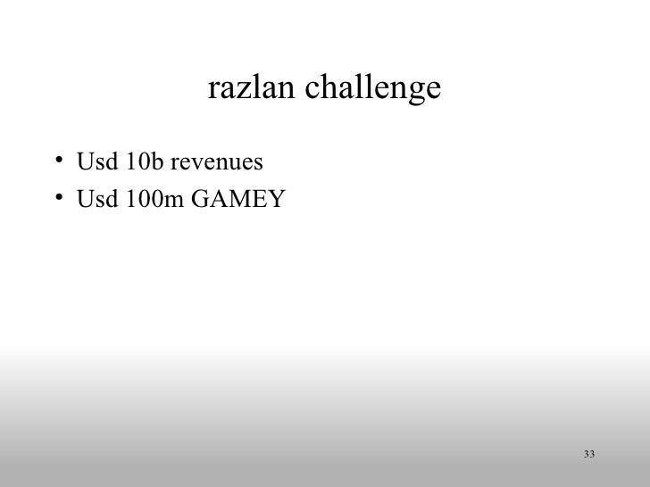 razlan challenge <ul><li>Usd 10b revenues </li></ul><ul><li>Usd 100m GAMEY </li></ul>