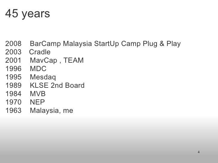 45 years <ul><li>2008 BarCamp Malaysia StartUp Camp Plug & Play </li></ul><ul><li>2003   Cradle </li></ul><ul><li>2001 ...