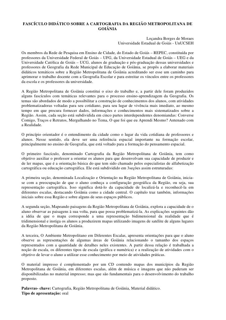 FASCÍCULO DIDÁTICO SOBRE A CARTOGRAFIA DA REGIÃO METROPOLITANA DE                               GOIÂNIA                   ...