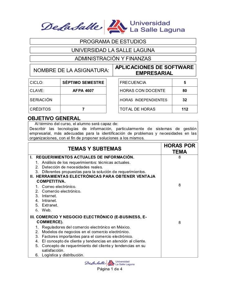 PROGRAMA DE ESTUDIOS                       UNIVERSIDAD LA SALLE LAGUNA                         ADMINISTRACIÓN Y FINANZAS  ...