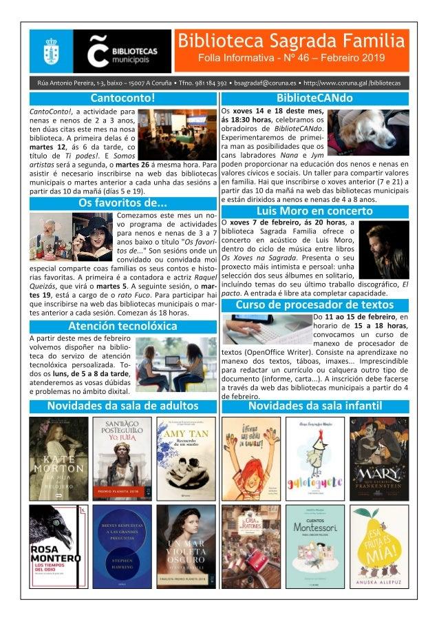 Boletín Informativo de febreiro 2019 da Biblioteca Sagrada Familia da Coruña