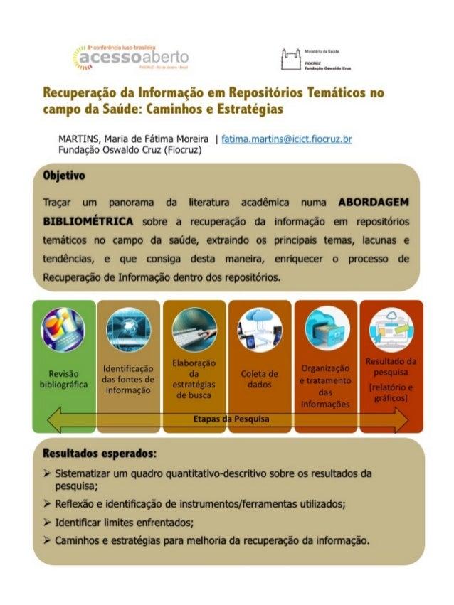 Recuperação da informação em repositórios temáticos no campo da saúde: caminhos e estratégias - CONFOA 2014