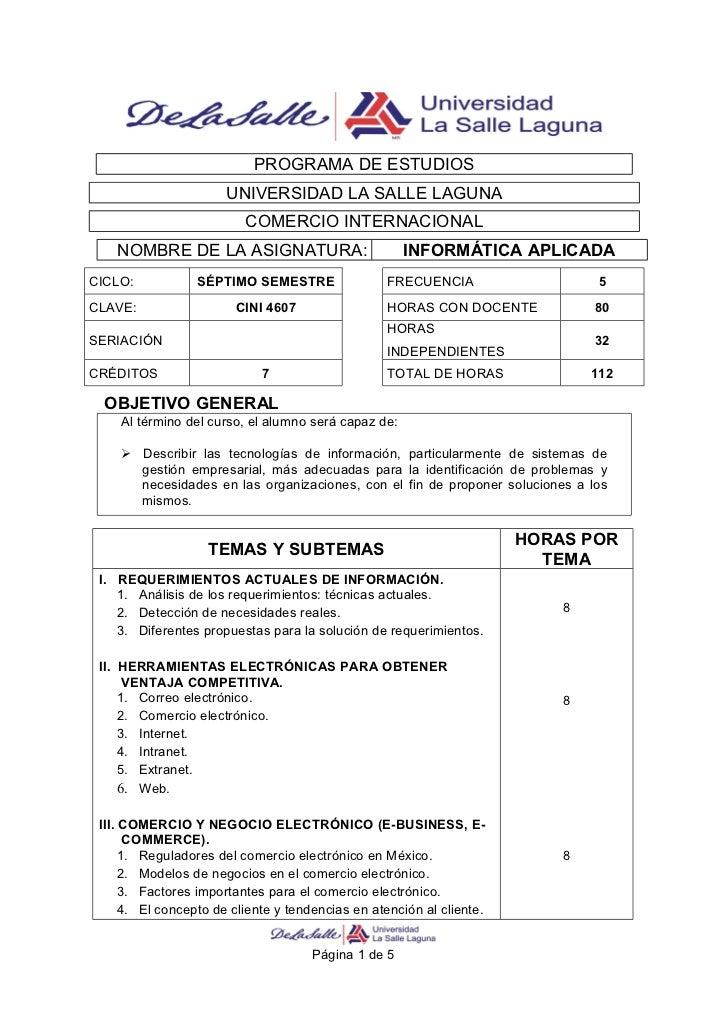 PROGRAMA DE ESTUDIOS                       UNIVERSIDAD LA SALLE LAGUNA                          COMERCIO INTERNACIONAL    ...