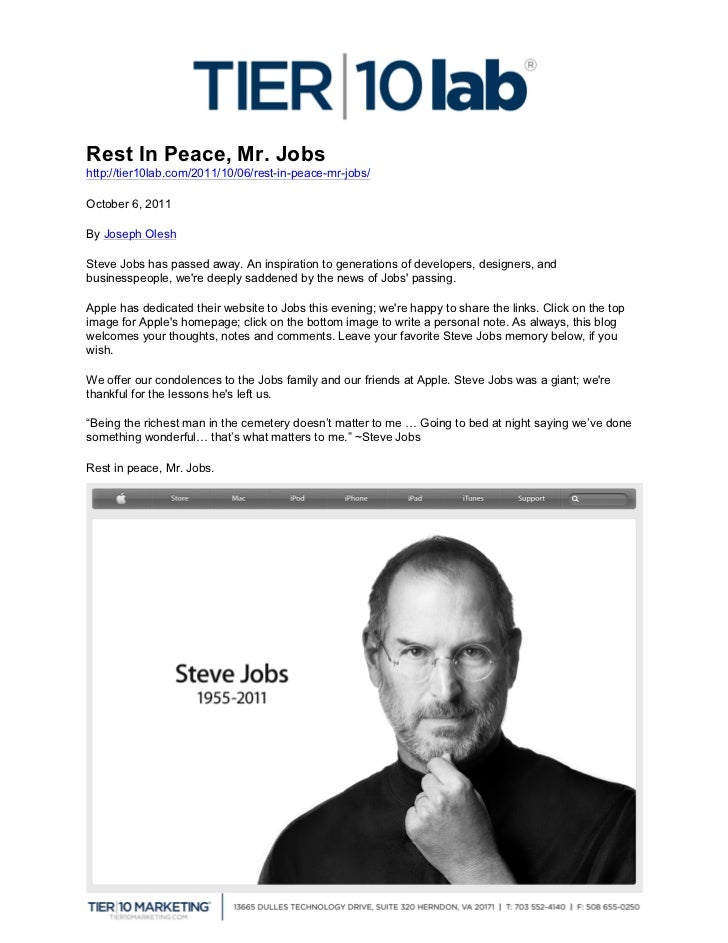Rest In Peace Steve Jobs >> Rest In Peace Mr Jobs