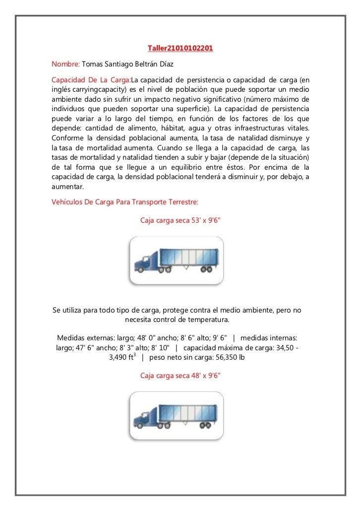 Taller 21010102201<br />Nombre: Tomas Santiago Beltrán Díaz <br />Capacidad De La Carga: Lacapacidad de persistenciaoca...
