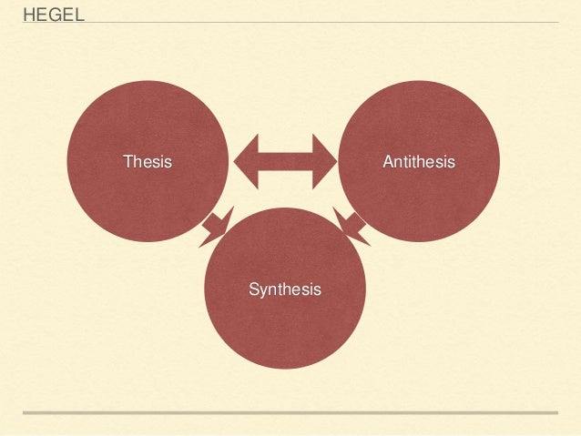 hegelian thesis antithesis Hegelian dialectics were very organic, moments in which an incremental understanding of thesis, antithesis, and synthesis were present hegel likened it to the emergence, blooming, and shedding.