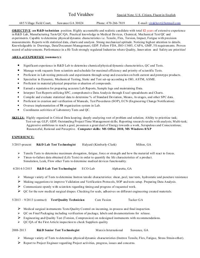 Base Lab Tech Resume. Ted Virakhov Special Note: U.S. Citizen, Fluent In  English 685 Village Field Court, ...  Resume For Lab Technician