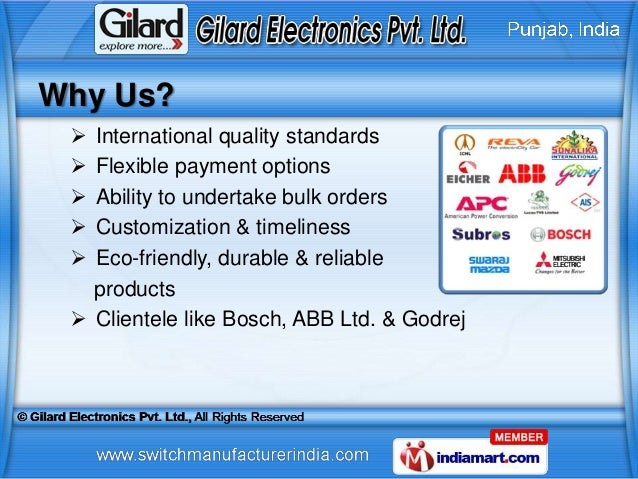 Why Us?  International quality standards  Flexible payment options  Ability to undertake bulk orders  Customization & ...