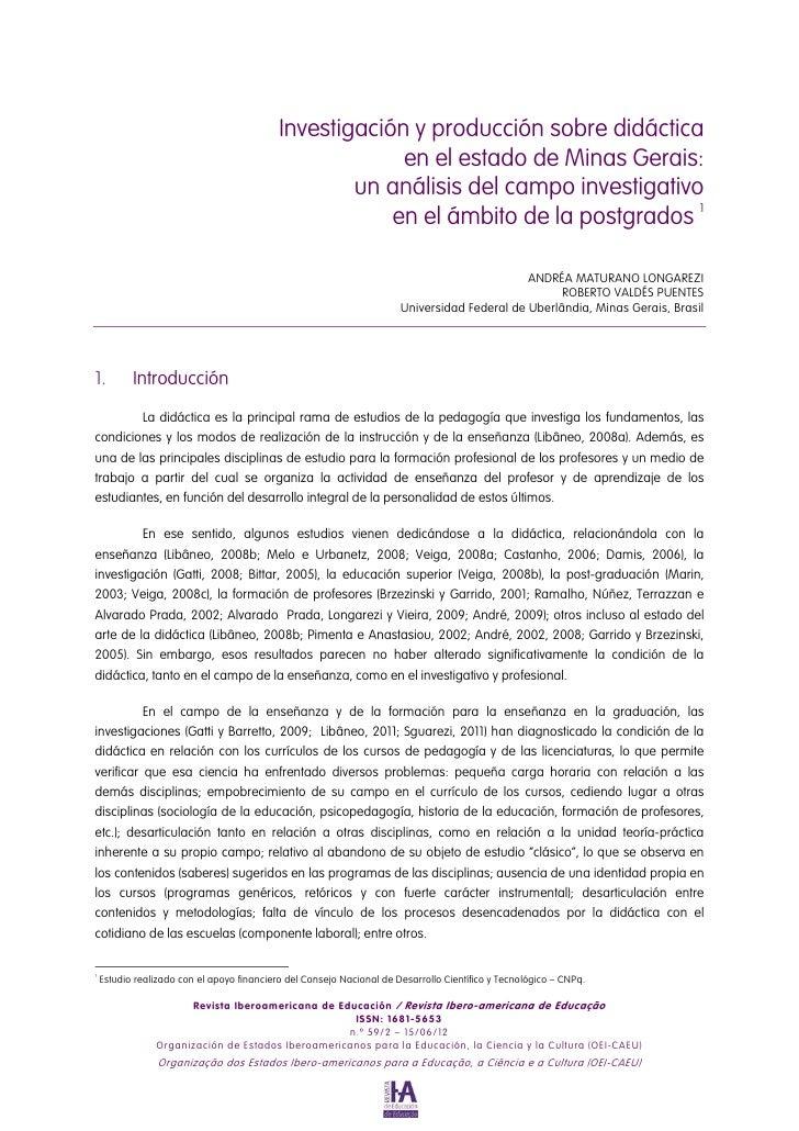 Investigación y producción sobre didáctica                                                         en el estado de Minas G...