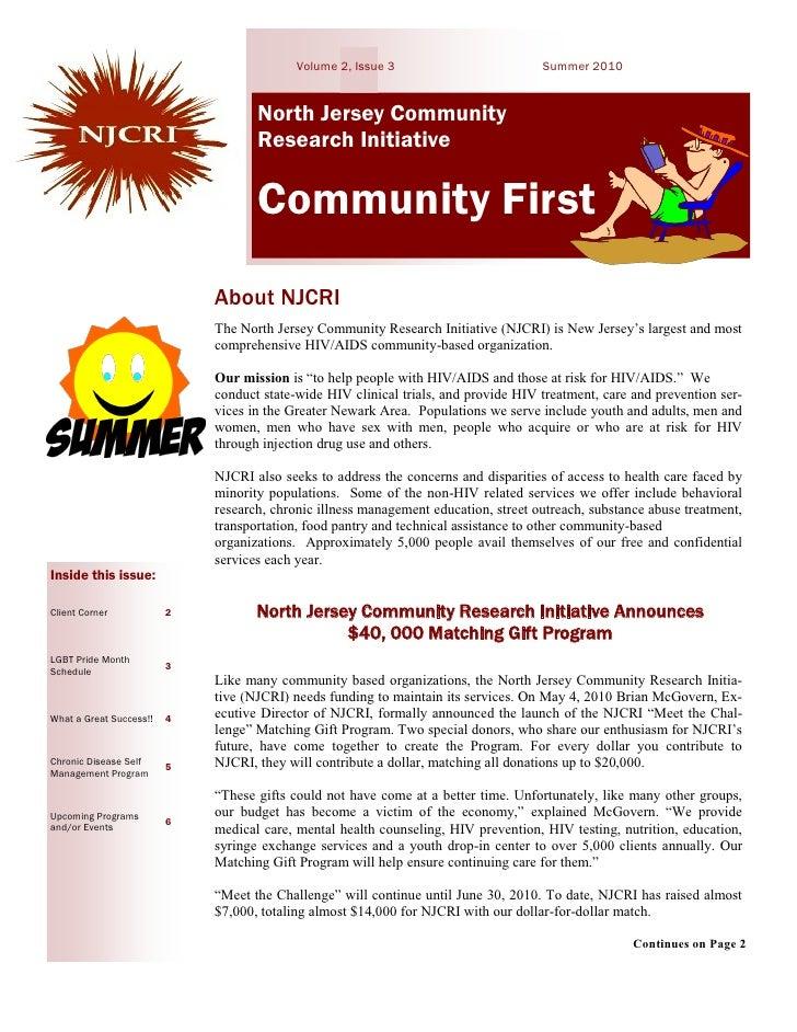 Volume 2, Issue 3                         Summer 2010                                       North Jersey Community        ...
