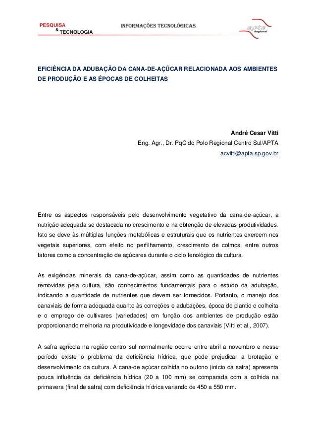 EFICIÊNCIA DA ADUBAÇÃO DA CANA-DE-AÇÚCAR RELACIONADA AOS AMBIENTES DE PRODUÇÃO E AS ÉPOCAS DE COLHEITAS  André Cesar Vitti...