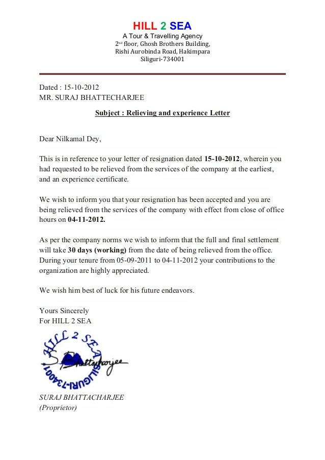 release letter of hill2sea