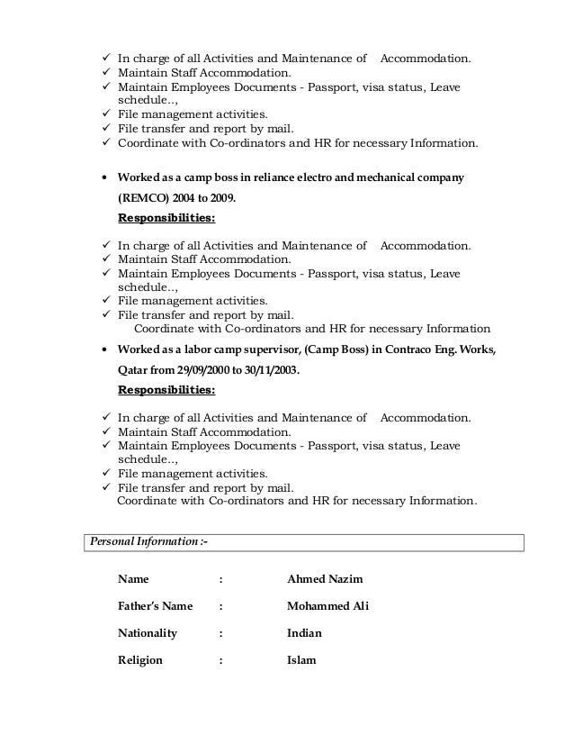 Luxury Camp Management Resume Gift - Administrative Officer Cover ...