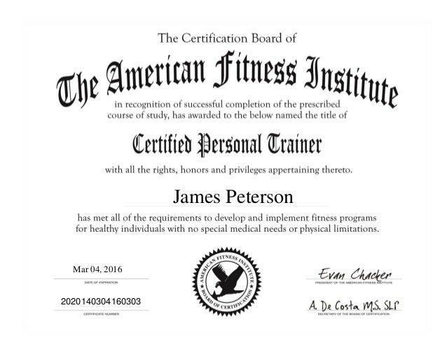 Afi Personal Trainer Cert