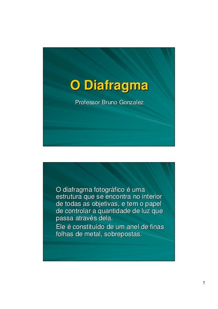 O Diafragma      Professor Bruno GonzalezO diafragma fotográfico é umaestrutura que se encontra no interiorde todas as obj...