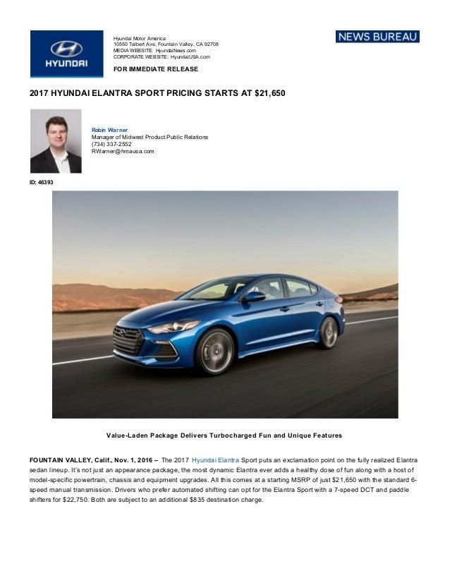 Hyundai Elantra Sport - Press Release
