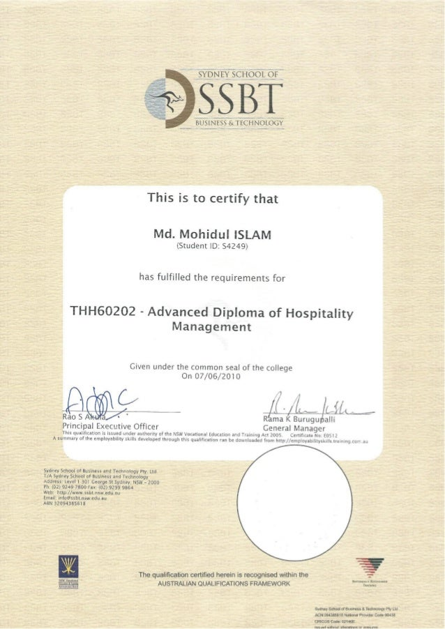 advenched diploma of hospitality management  certificate