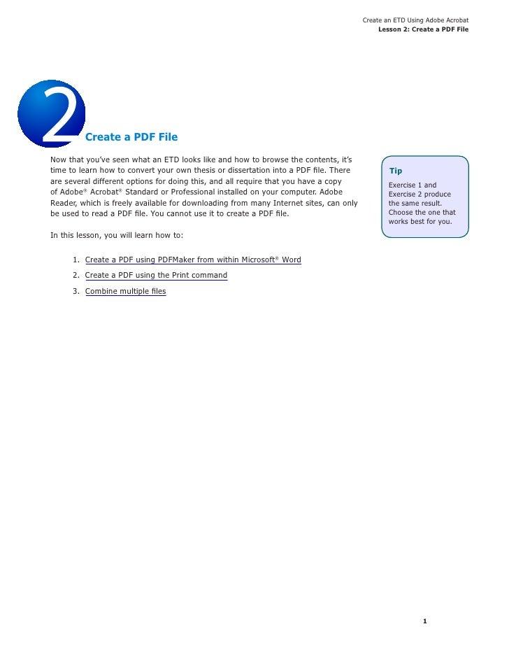 Create an ETD Using Adobe Acrobat                                                                                         ...