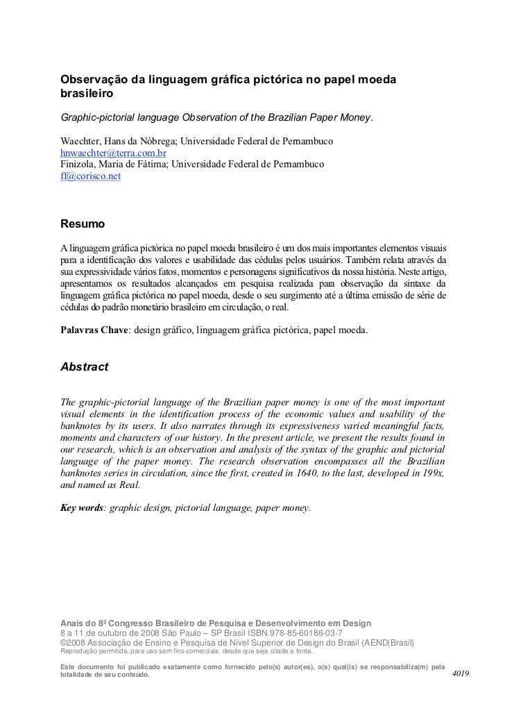 Observação da linguagem gráfica pictórica no papel moedabrasileiroGraphic-pictorial language Observation of the Brazilian ...