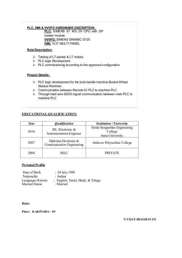 Plc Programming Resume Samples PLC SCADA Training